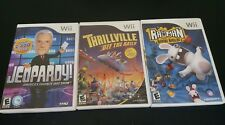Nintendo Wii Family Game Lot Rated E Thrillville Rayman Jeopardy Tested (CL1)