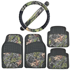 Rubber Car Floor Mats Black w/ Camo Inlay + Comfort Grip Steering Wheel Cover