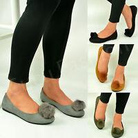 New Womens Flat Ballerina Ladies Dolly Pumps Pom Pom Ballet Shoes Size Uk 3-8