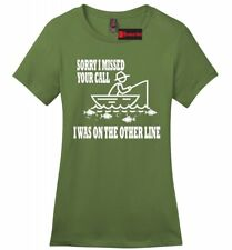 On The Other Line Funny Fishing Ladies Soft T Shirt Gift Graphic Tee Z4