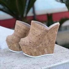 Womens High Wedge Platform Heels Slippers Peep Toe Clubwear Mules Slides Sandals