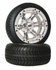 """Set of (4) 12"""" Chrome SS Golf Cart Car SS212 SS112 Wheels & Low Profile Tires"""