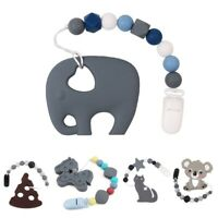 Silicone Teether Animal Elephant Koala Pacifier Chains Baby Safe Clips Beads