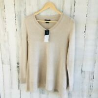 NWT $178 Bloomingdales 100% Cashmere Swing Sweater Tunic Oatmeal Beige Trapeze S