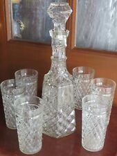 VTG PRESSED GLASS DIAMOND CUT DECANTER SET 6 GLASSES GREAT GATSBY