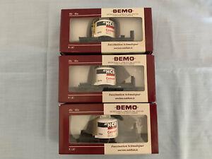 Bemo HOm RhB set of 3 HCB Cement Wagons, 2-axle, 2260xxx, #8088, 8092, 8094