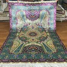 New 4'x6' Visual Oriental Hand Made Rugs For Sale Hand Knotted Silk Carpet S98A