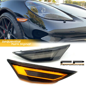 For 12-19 Porsche 991 Smoked LED Bumper Sequential Side Marker Lights 981 718