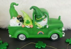 St Patricks Day Shamrock Clover Pot Of Gold Gnome Rainbow Truck Decoration Decor