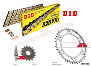 Honda CBR600 F4i (2002 to 2007) DID Gold X-Ring Chain and JT Sprockets Kit Set