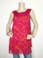 New CAbi #999 Small Origami Tunic Pink Orange Tank Top Sleeveless Shirt Lined