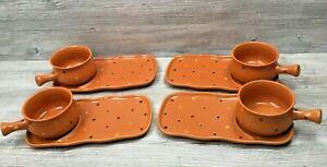 Set of 4 Temp-Tations Ovenware Orange Polka Dot Soup Bowls w/ Sandwich Plates