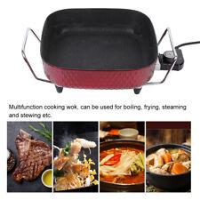AU 30cm Electric Frypan Thermostat Control Non-stick Boiling Pan Wok + Glass Lid