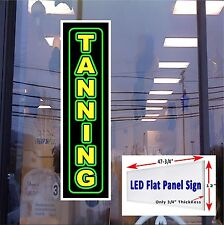 LED Sign TANNING Window Sign 48x12 Neon Banner Alternative New LED flat panel