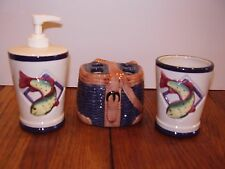 Freshwater fish 3 pc bathroom accessories toothbrush holder soap dispenser cup