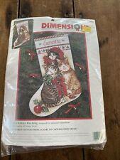 "Dimensions Decorated Kitties Stocking 16"" Vintage Cross Stitch 9102 NIP"