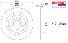 New Unipart Rear Brake Discs (Pair) Lancia Phedra (179_) 2.0  02-10 - OE 4246P4