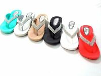 Women Ladies Ella Toe Post Diamante Sandals Low Wedge Flip Flops UK-3-8