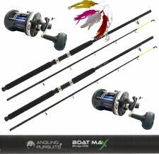 Boat Fishing Rod 6ft x2 & Multiplier Sea Reels Pier Boat Sea Fishing + Feathers