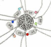 6 PC BFF Necklace Pizza Best Friends Necklaces Pendant Friendship Jewelry Charm