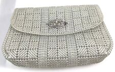 Vintage Needle Point Canvas Silver Clutch Purse Handmade