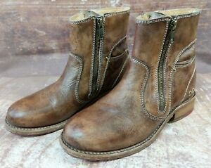 Bed Stu Ankle Boots Cobbler Chelsea Size 7 38 Brown Distressed Side Zip Leather