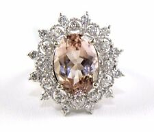 Fine Huge Oval Cut Morganite Cocktail Ring w/Diamond Halo 14k White Gold 7.38Ct