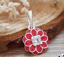 Pandora 925 ale silver charm beads Oriental Bloom red Enamel 791829