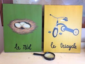 RARE POTTERY BARN KIDS-In French-Painted Wood Plaques•le Nid & le Tricycle RARE