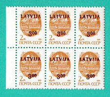 LATVIA RUSSIA BLOCK OF 6 STAMPS OVERPRINT LATVIA 3 MNH 876