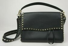 f7f2bdf35e9 Valentino Garavani Medium Rockstud Black Leather Shoulder Bag Handbag Purse