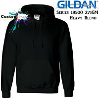 Gildan Black Hoodie Heavy Blend Basic Hooded Sweat Sweater Big Mens S -5XL