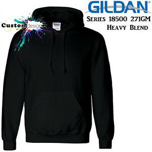 Gildan Black Hoodie Heavy Blend Basic Hooded Sweat Sweater Big Mens S -5XL