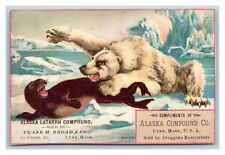 MASSACHUSETTS LYNN TRADE CARD ALASKA COMPOUND POLAR BEAR ATTACKS CIRCA 1885