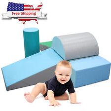 6 Pcs Climb Crawl Activity Play Set Safe Sponge Foam Blocks Soft Climber Blue