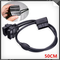 50cm OBD 2 right Angle Y Splitter Extension Cable 16 Pin Male to 16Pin Female
