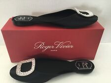 Roger Vivier Womans Chips Strass Embelished Satin Mule Shoes  .Sz 41 Italy