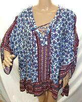 Democracy Women Plus Size 1x 2x 3x Blue Burgundy Folk Tunic Top Blouse Shirt