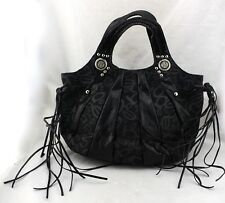 BEBE Black Signature Canvas Faux Snake Trim Tassel Fringe Patchwork Hobo Bag New