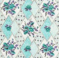 2 Yards 1960s Vintage Fabric Jade Green Purple Floral