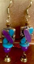 Hugs & Kisses Earrings Amethyst/Turquoise Howlite Vintage Brass Beads By Zetroc