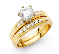 14K Solid Yellow Gold 0.4 ct Round Cut Diamond Solitaire Engagement Wedding Band