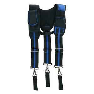 New Aisenin Men's Suspenders with Pockets and Swivel Hooks and Tool Belt Loop