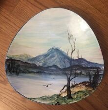"Alice Henry Ceramic Hand Painted Mountain Landscape Decorative Serving Bowl 10""d"