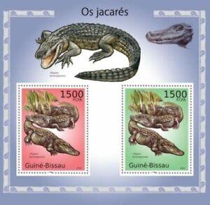 Crocodiles, Alligators, Reptiles, Guinea Bissau 2010 MNH 2v SS