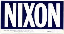 1968 Original Elect RICHARD NIXON President Campaign Bumper Sticker NYC New York