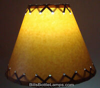 "Rustic Cabin Cottage Table Light LAMP SHADE ""Clip-On"" Bulb 9"" inch X-Laced Cone"