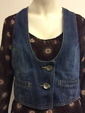 Gorgeous Blue Fitted Low Neck Button Front Denim Waistcoat, Size 12 - Excellent!