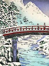 PAINTING POSTCARD JAPAN WINTER SNOW SCENE BRIDGE FOREST MOUTAIN POSTER LV2841