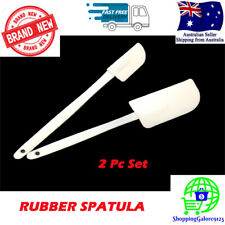2 Pc Rubber Spatula Set White 24cm Length Durable High Quality NEW & SEALED